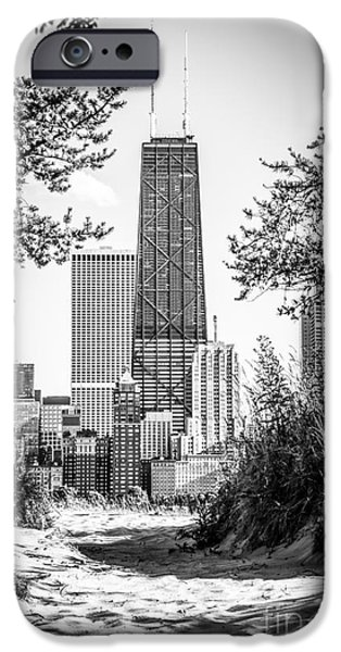 Hancock Building iPhone Cases - Hancock Building Through Trees Black and White Photo iPhone Case by Paul Velgos