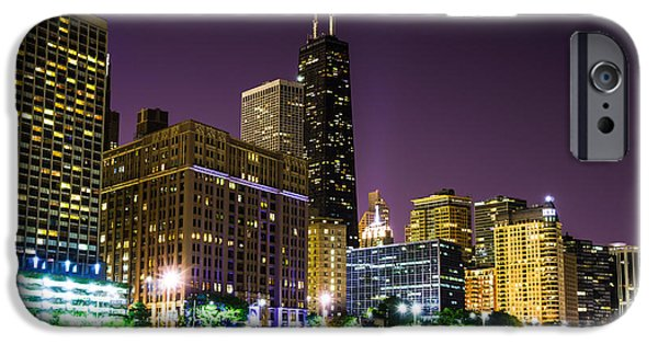 Chicago iPhone Cases - Hancock Building with Dusk Chicago Skyline iPhone Case by Paul Velgos