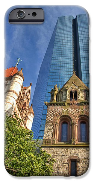 Massachusetts Autumn Scenes iPhone Cases - Hancock Tower Over Trinity Church iPhone Case by Joann Vitali