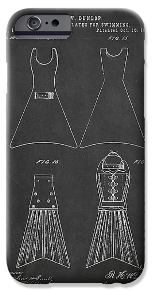 Swimming iPhone Cases - Hand and Foot Plates for swimming Patent Drawing From 1876 iPhone Case by Aged Pixel