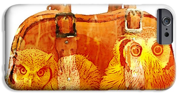 Owls iPhone Cases - Hand Bag Baby Owls Painting iPhone Case by Marvin Blaine