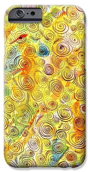 Abstract Digital Drawings iPhone Cases - Hand-drawn Abstract Background with Spirals on Yellow Green Pink iPhone Case by Ion vincent DAnu