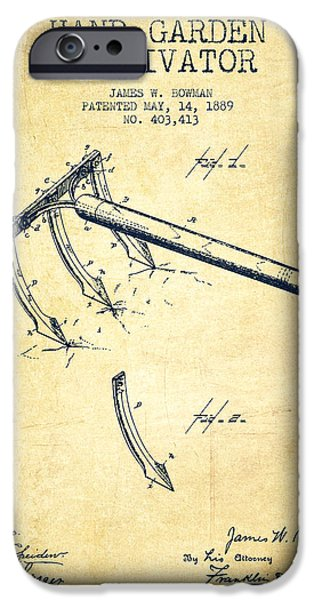 Farm iPhone Cases - Hand Garden Cultivator Patent from 1889 - Vintage iPhone Case by Aged Pixel