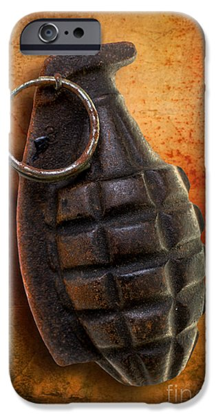 Fragment iPhone Cases - Hand Grenade iPhone Case by Edward Fielding