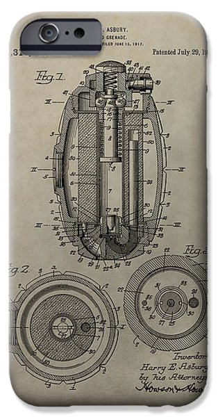 Weapon Mixed Media iPhone Cases - Hand Grenade Patent iPhone Case by Dan Sproul