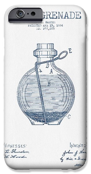 Explosion Digital iPhone Cases - Hand Grenade Patent Drawing from 1884- Blue Ink iPhone Case by Aged Pixel