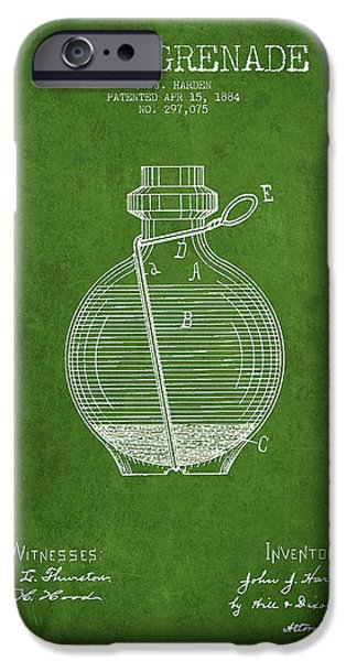 Explosion Digital iPhone Cases - Hand Grenade Patent Drawing from 1884 - Green iPhone Case by Aged Pixel