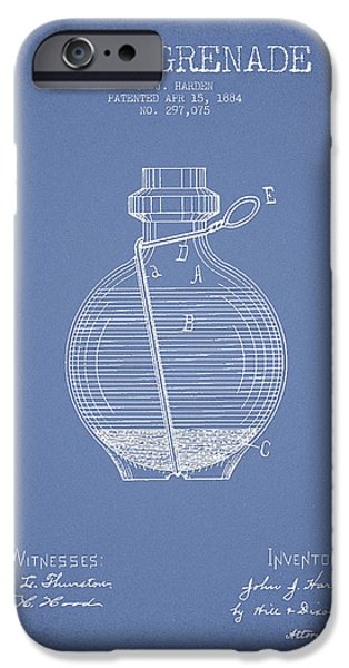 Weapon iPhone Cases - Hand Grenade Patent Drawing from 1884 - Light Blue iPhone Case by Aged Pixel