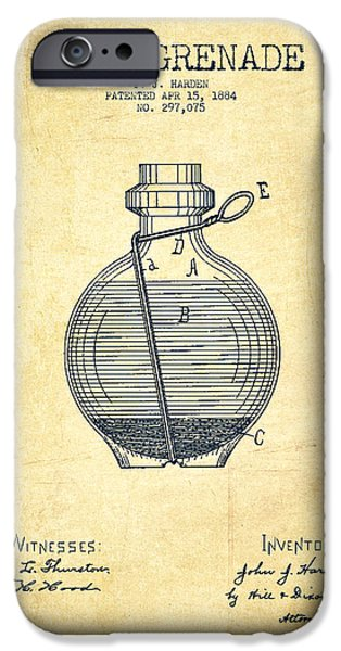Weapon iPhone Cases - Hand Grenade Patent Drawing from 1884 - Vintage iPhone Case by Aged Pixel