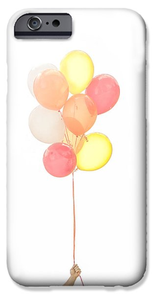 Helium iPhone Cases - Hand holding balloons iPhone Case by Diane Diederich