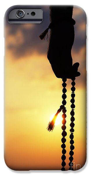 Inner Peace iPhone Cases - Hand holding Rudraksha beads iPhone Case by Tim Gainey