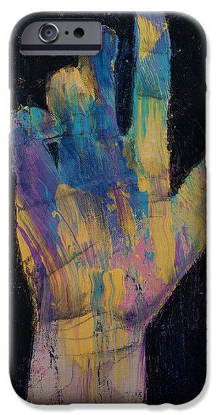 Drips Paintings iPhone Cases - Hand iPhone Case by Michael Creese