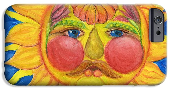 Sun Rays Paintings iPhone Cases - Hand Painted Sun as Vertumnus iPhone Case by Lenora  De Lude