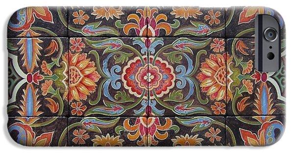 Designs Ceramics iPhone Cases - Hand Painted Tiles iPhone Case by Glenda Stevens