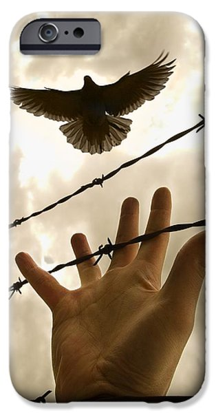 Hope And Change iPhone Cases - Hand Reaching Out For Bird iPhone Case by Nathan Lau