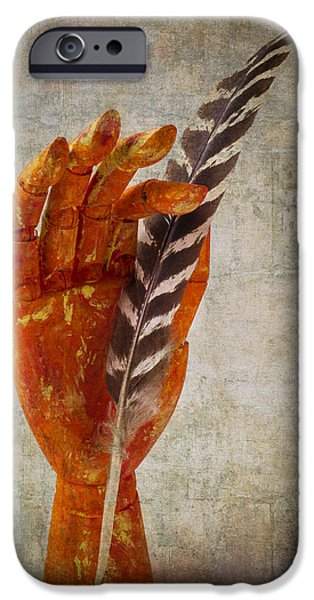 Vertical Flight iPhone Cases - Hand With Feather iPhone Case by Garry Gay