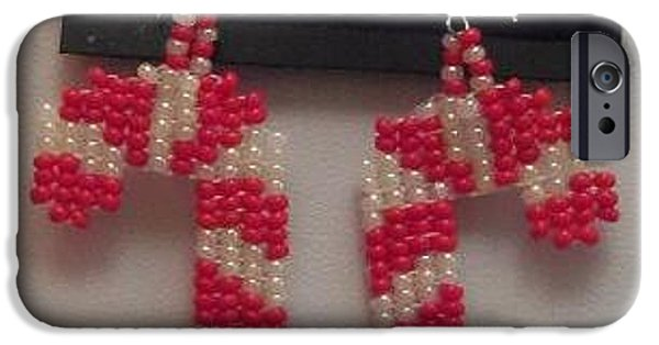White Jewelry iPhone Cases - Hand Woven Red and White Candy Cane Earrings iPhone Case by Kimberly Johnson