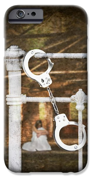 Frightening iPhone Cases - Handcuffs On Bed iPhone Case by Amanda And Christopher Elwell