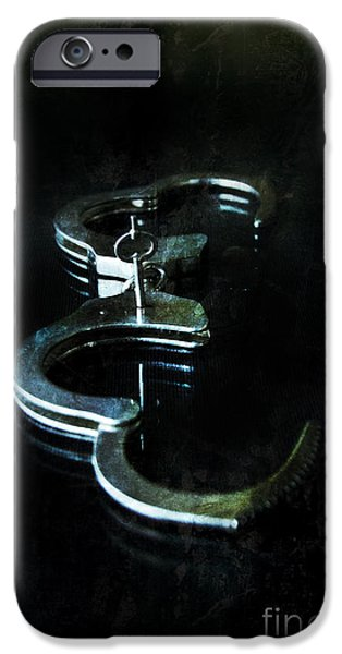 Glass Table Reflection iPhone Cases - Handcuffs on Black iPhone Case by Jill Battaglia