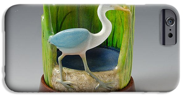 Beach Sculptures iPhone Cases - Turned and Carved Great Blue Heron iPhone Case by Debra Breton