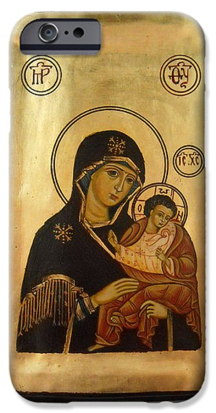 Handpainted orthodox holy icon Madonna with child Jesus iPhone Case by Denise Clemenco