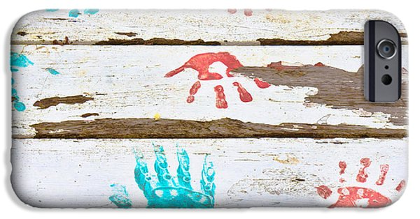 Painted Wood iPhone Cases - Handprints iPhone Case by Tom Gowanlock