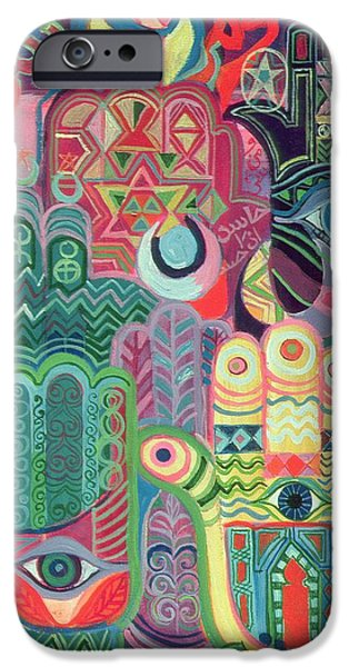 Psychedelic Photographs iPhone Cases - Hands As Amulets Ii, 1992 Acrylic On Canvas iPhone Case by Laila Shawa