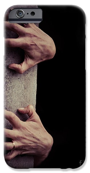 Creepy iPhone Cases - Hands Crawling out of the darkness iPhone Case by Edward Fielding