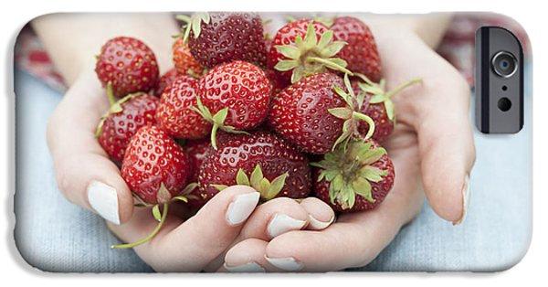 Berry iPhone Cases - Hands holding fresh strawberries iPhone Case by Elena Elisseeva