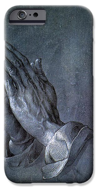 Religious Drawings iPhone Cases - Hands of an Apostle 1508 iPhone Case by Albrecht Durer