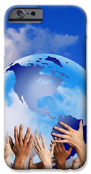 Hands Touching A Globe iPhone Case by Don Hammond