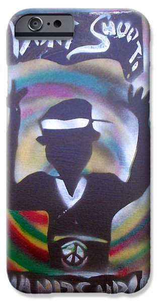 Conservative Paintings iPhone Cases - Hands Up Dont shoot Peaced out iPhone Case by Tony B Conscious