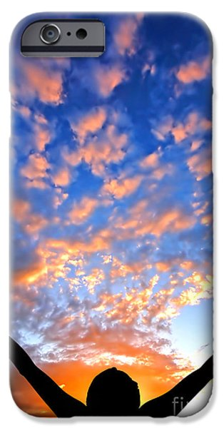 Hands up to the sky showing happiness iPhone Case by Michal Bednarek