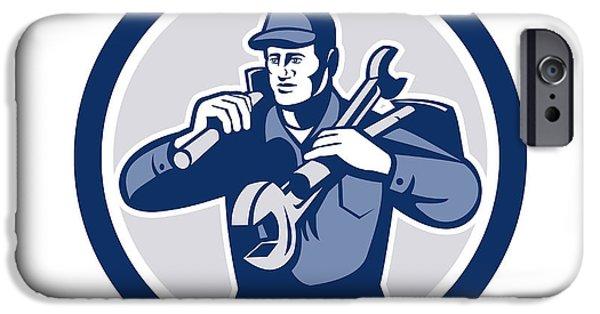 Repairman iPhone Cases - Handyman Repairman Spanner Wrench Spade Retro iPhone Case by Aloysius Patrimonio