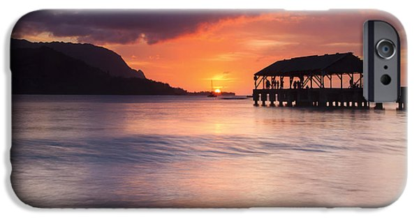 Sailboat Ocean iPhone Cases - Hanelei Pier Sunset iPhone Case by Mike Dawson