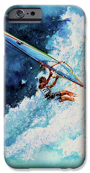 Windsurfer iPhone Cases - Hang Ten iPhone Case by Hanne Lore Koehler