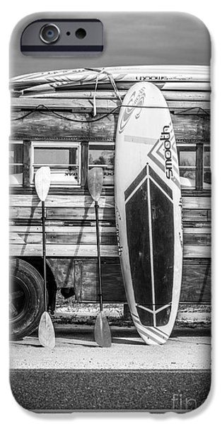 Board iPhone Cases - Hang Ten - Vintage Woodie Surf Bus - Florida - Black and White iPhone Case by Ian Monk