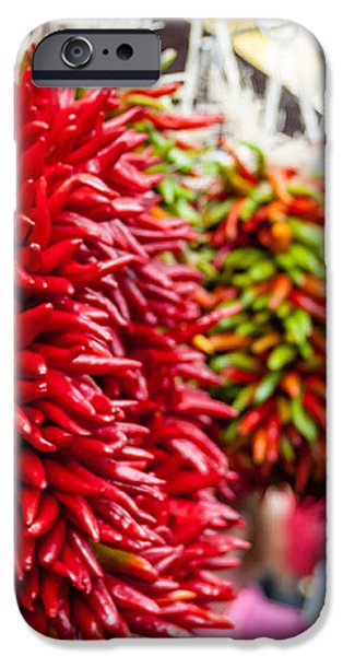 Hanging Chili Pepper Ristras at Farmers Market iPhone Case by Teri Virbickis