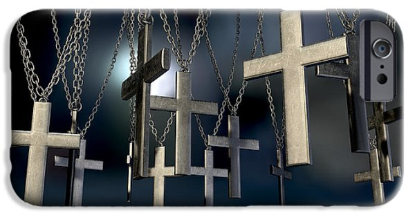 Crucifix iPhone Cases - Hanging Crucifixes Far iPhone Case by Allan Swart