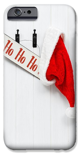 St Nicholas iPhone Cases - Hanging Santa Hat and Sign iPhone Case by Amanda And Christopher Elwell