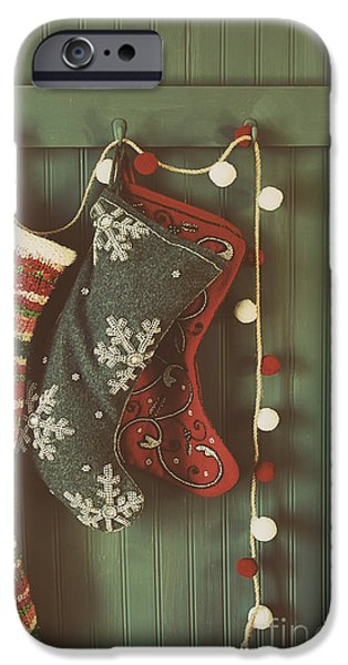 Wintertime iPhone Cases - Hanging stockings ready for Christmas iPhone Case by Sandra Cunningham