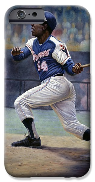 Brave Mixed Media iPhone Cases - Hank Aaron iPhone Case by Gregory Perillo