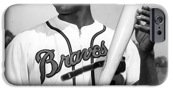 National League Baseball iPhone Cases - Hank Aaron Poster iPhone Case by Gianfranco Weiss