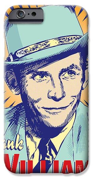 Montgomery iPhone Cases - Hank Williams Pop Art iPhone Case by Jim Zahniser