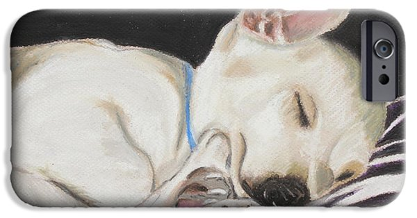 Puppy Pastels iPhone Cases - Hanks Sleeping iPhone Case by Jeanne Fischer