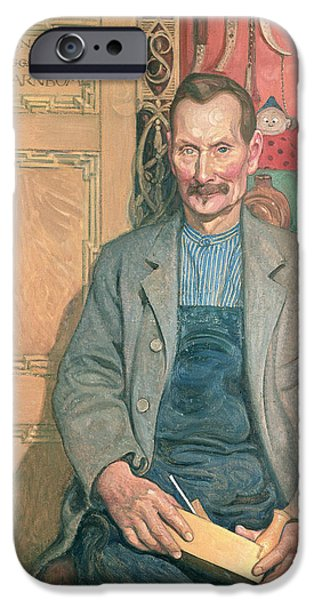 Mustaches iPhone Cases - Hans Arnbom The Carpenter iPhone Case by Carl Larsson