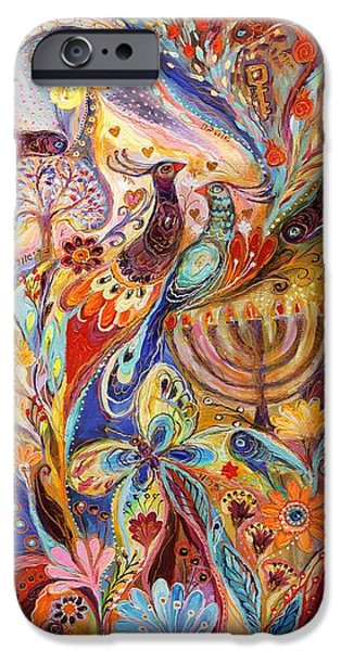 Flower Of Life iPhone Cases - Hanukkah in Magic Garden iPhone Case by Elena Kotliarker