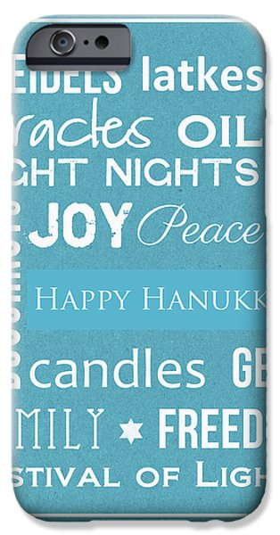 Chanukah iPhone Cases - Hanukkah Words -Greeting Card iPhone Case by Linda Woods