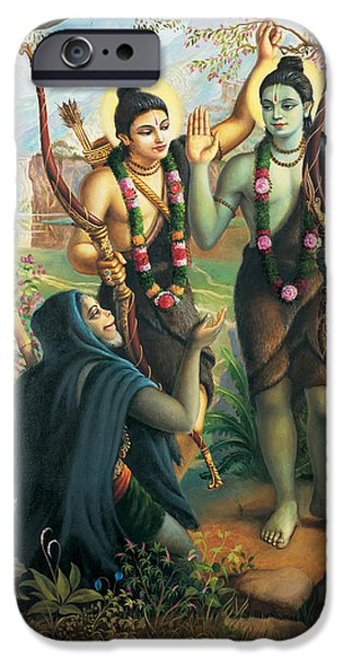 Epic iPhone Cases - Hanuman meeting Ram and Laxman iPhone Case by Vrindavan Das