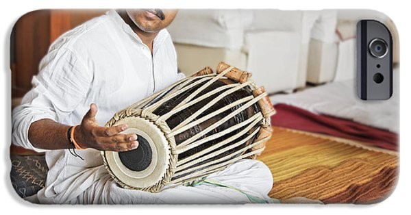 Matting iPhone Cases - Hanumant Ghadge Tabla accompaniment at private party iPhone Case by Kantilal Patel